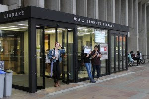 The entrance to the W.A.C. Bennett Library